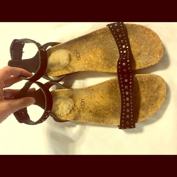 0cb7791e7a8 UGG sandals size 9 black suede w/cork & sheep heal